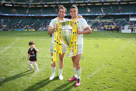 Marcelo Bosch of Saracens & Alex Lozowski of Saracens Saracens' victory celebrations on pitch and in changing room