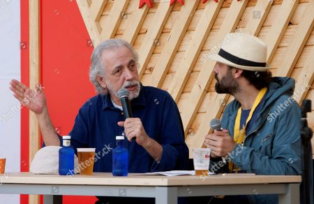 Spanish film director Fernando Trueba (L) and Cans Festival director Alfonso Pato (R) attend a meeting during Cans Festival in Cans, Galicia, Spain, 26 May 2018.