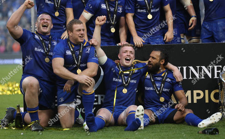 Leinster vs Scarlets. Leinster's Jack McGrath, Sean Cronin, Dan Leavy and Isa Nacewa celebrate after the game