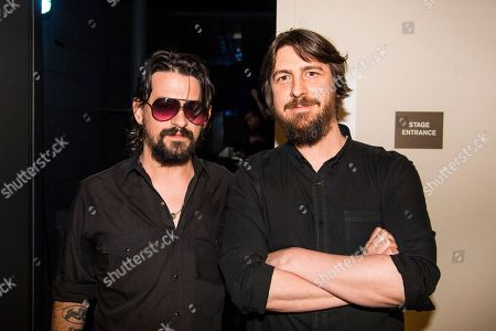Shooter Jennings and Dave Cobb backstage at Country Music Hall of Fame