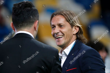 Former Real Madrid player Michel Salgado attends the Champions League Final soccer match between Real Madrid and Liverpool at the Olimpiyskiy Stadium in Kiev, Ukraine