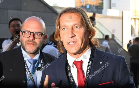 Former Real Madrid player Michel Salgado arrives for the UEFA Champions League final between Real Madrid and Liverpool FC at the NSC Olimpiyskiy stadium in Kiev, Ukraine, 26 May 2018.