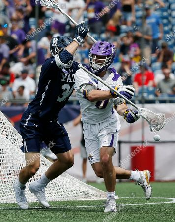 Christian Cropp, Noah Taylor. Albany's Noah Taylor, right, loses control of the ball against Yale's Christian Cropp during the second half in the semifinals of the NCAA Division 1 college lacrosse tournament in Foxborough, Mass