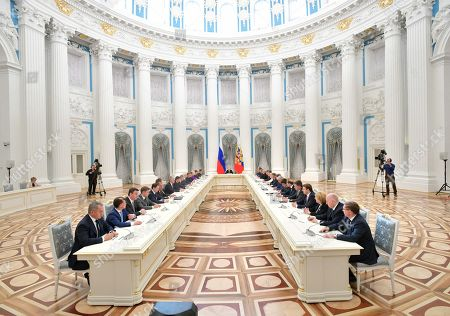 Vladimir Putin meets new government members, Moscow