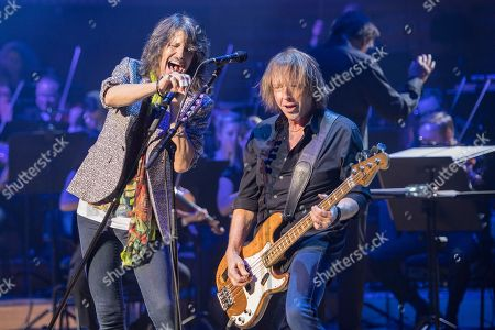 Kelly Hansen (L) and Mick Jones (R) of the British-US rock band Foreigner performs at the Retro Festival in Lucerne, Switzerland, 26 May 2018. The music event runs from 23 to 27 May.