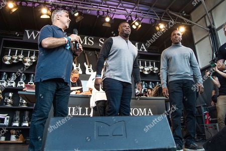Stock Photo of Gary Dell 'Abate, Ken Griffey Jr., Barry Bonds. Gary Dell 'Abate, from left, Ken Griffey Jr. and Barry Bonds seen at the Williams Sonoma Culinary stage at the Bottle Rock Napa Valley Music Festival at Napa Valley Expo, in Napa, Calif