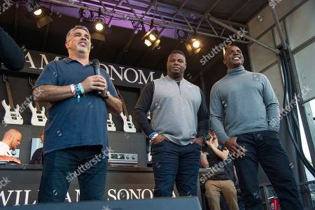 Stock Image of Gary Dell 'Abate, Ken Griffey Jr., Barry Bonds. Gary Dell 'Abate, from left, Ken Griffey Jr. and Barry Bonds seen at the Williams Sonoma Culinary stage at the Bottle Rock Napa Valley Music Festival at Napa Valley Expo, in Napa, Calif