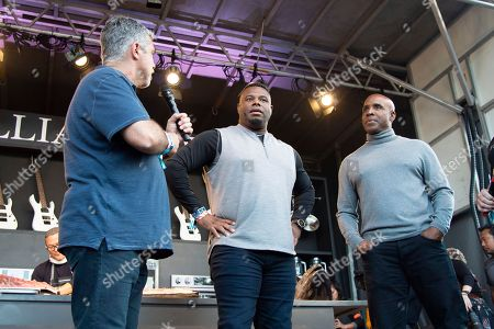 Gary Dell 'Abate, Ken Griffey Jr., Barry Bonds. Gary Dell 'Abate, from left, Ken Griffey Jr. and Barry Bonds seen at the Williams Sonoma Culinary stage at the Bottle Rock Napa Valley Music Festival at Napa Valley Expo, in Napa, Calif