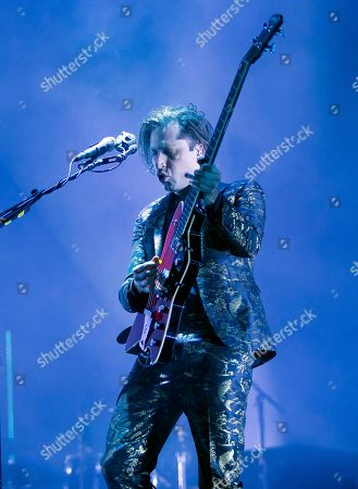 Michael Shuman of Queens Of The Stone Age performs at the Boston Calling Music Festival, in Allston, Mass