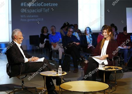 Stock Photo of South African Literature Nobel laureate in 2003, John Maxwell Coetzee, talks with editor Soledad Constantini (unseen) about his new book 'Siete cuentos morales' (lit. Seven moral stories) in Madrid, Spain, 26 May 2018.