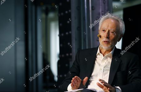 South African Literature Nobel laureate in 2003, John Maxwell Coetzee, talks with editor Soledad Constantini (unseen) about his new book 'Siete cuentos morales' (lit. Seven moral stories) in Madrid, Spain, 26 May 2018.