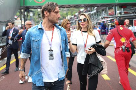 Former Italian soccer player Francesco Totti and his wife Ilary Blasi during the 2018 Formula One Grand Prix of Monaco at the Monte Carlo circuit in Monaco, 27 May 2018.