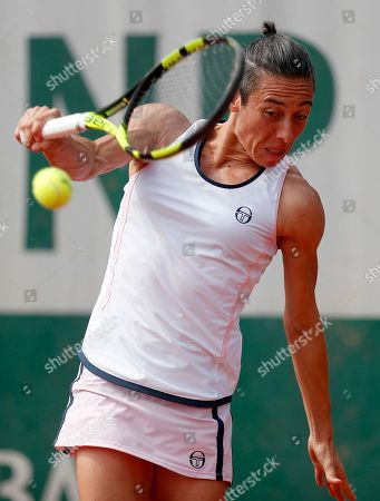 Francesca Schiavone of Italy in action against Viktoria Kuzmova of Slovakia during their women?s first round match during the French Open tennis tournament at Roland Garros in Paris, France, 27 May 2018.