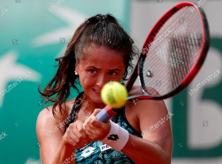 Viktoria Kuzmova of Slovakia in action against Francesca Schiavone of Italy during their women?s first round match during the French Open tennis tournament at Roland Garros in Paris, France, 27 May 2018.