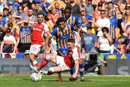 Rotherham United player Caolan Lavery (31)  under attack from Shrewsbury Town defender Omar Beckles (6) and Shrewsbury Town midfielder Ben Godfrey (4) during the EFL Sky Bet League 1 play-off final match between Rotherham United and Shrewsbury Town at Wembley Stadium, London. Picture by Ian Lyall