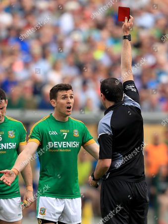 Longford vs Meath. Meath's Shane McEntee is shown a red card by referee Sean Hurson