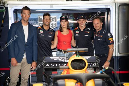 From l to R : Tom Brady, Daniel Ricciardo, Bella Hadid Max Verstappen and Christian Horner pictured on the Red Bull Energy Station before the Monaco Formula One Grand Prix
