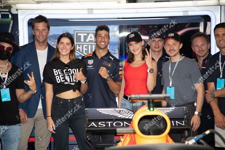 From l to R : Tom Brady, Paulina Vega, Daniel Ricciardo, Bella Hadid Max Verstappen, Martin Solveig, and Christian Horner pictured on the Red Bull Energy Station before the Monaco Formula One Grand Prix