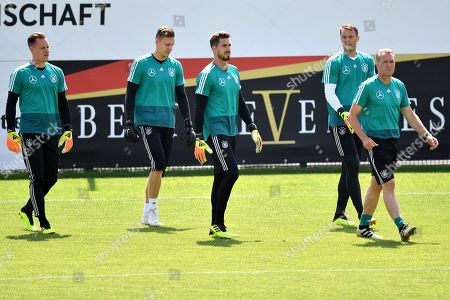 (L-R) German goalkeepers Marc-Andre ter Stegen, Bernd Leno, Kevin Trapp, Manuel Neuer and goalkeeper coach Andreas Koepke attend a training session in Eppan, Italy, 28 May 2018. The German squad prepares for the upcoming FIFA World Cup 2018 soccer championship in Russia at a training camp in Eppan, South Tyrol, until 07 June 2018.