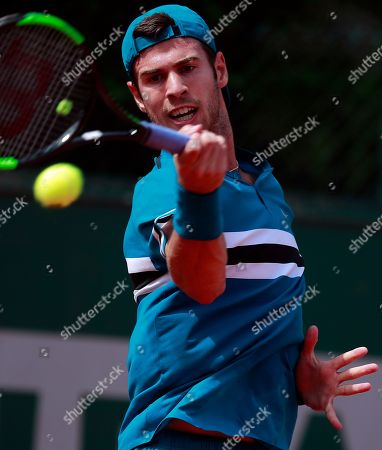 Karen Khachanov of Russia in action against Andreas Haider-Maurer of Austria during their men?s first round match during the French Open tennis tournament at Roland Garros in Paris, France, 28 May 2018.