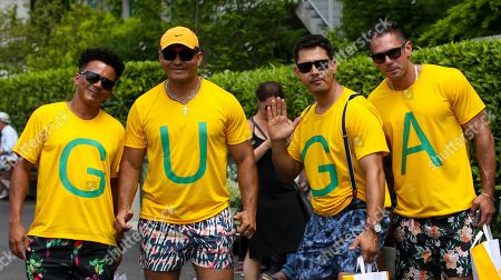 Fans of Gustavo Kuerten (BRA) wearing t shirts of his nick name Guga