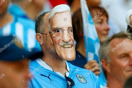 Coventry City fan with Jimmy Hill mask on during the EFL Sky Bet League 2 play-off final match between Coventry City and Exeter City at Wembley Stadium, London. Picture by Simon Davies
