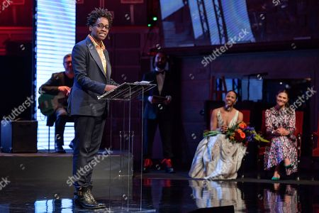 American author Jacqueline Woodson (L), laureate of the 2018 Astrid Lindgren Memorial Award (ALMA) gives a speech during the award ceremony at the Stockholm Concert Hall, in Stockholm, Sweden, 28 May 2018.