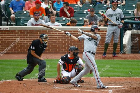Andrew Susac, Matt Adams, Andy Fletcher. Washington Nationals' Matt Adams, right, singles in front of Baltimore Orioles catcher Andrew Susac, center, and home plate umpire Andy Fletcher in the eighth inning of an interleague baseball game, in Baltimore. Anthony Rendon scored on the play