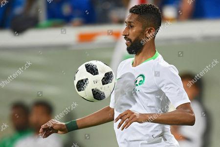 Saudi Arabia's Salman Al-Faraj in action during a friendly soccer match between Saudi Arabia and Italy, in St. Gallen, Switzerland, 28 May 2018.