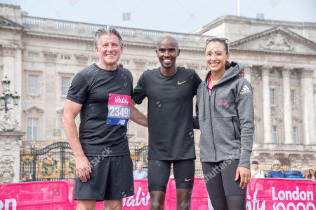 The Vitality 10,000 race starting on the Mall and including Sir Mo Farah who has won it 5 times. Pic Show Sir Mo, Lord Sebastian Coe and Jessica Ennis