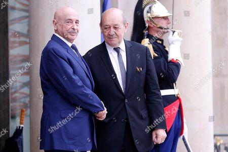 Jean-Yves Le Drian and Aguila Saleh Issa