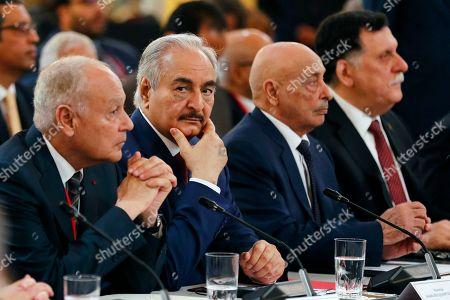 Khalifa Haftar, Aguila Saleh Issa and Fayez al-Sarraj