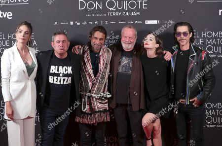 British film maker Terry Gilliam (3-R) poses with Spanish actors and cast members Jordi Molla (3-L), Sergi Lopez (2-L), Joana Ribeiro (2-R), Osca Jaenada (R) and Paloma Bloyd during the photocall of his latest film 'The Man Who Killed Don Quixote' at the Dore Cinema in Madrid, Spain, 28 May 2018 (issued on 29 May).