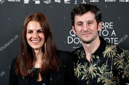 Spanish actors Raul Arevalo and Melina Matthews pose during the photocall of the film 'The Man Who Killed Don Quixote', directed by British Terry Gilliam, at the Dore Cinema in Madrid, Spain, 28 May 2018 (issued on 29 May).