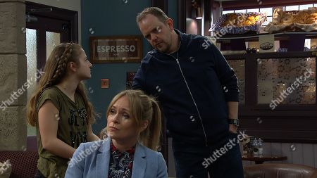 Stock Picture of Ep 8161 Monday 28 May 2018 When Lady Amelia Spencer, as played by Daisy Campbell, asks if Daz Spencer, as played by Mark Jordon, can come over, Dan Spencer, as played by Liam Fox, refuses