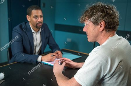 Ep 8177 Thursday 14th June 2018 - 2nd Ep Daz Spencer, as played by Mark Jordon, is panicked when DS Benton, as played by Justin Pierre, wants to talk to him at the police station and it soon becomes clear there's a development in the case.
