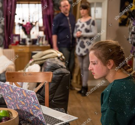 Stock Image of Ep 8165 Friday 1 June 2018 Kerry Wyatt, as played by Laura Norton, and Dan Spencer, as played by Liam Fox, are horrified when they walk in to see Lady Amelia Spencer, as played by Daisy Campbell, watching back the video of Dan admitting he isn't her real dad....
