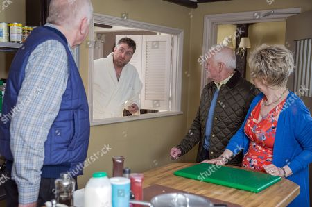 Stock Image of Ep 8169 Wednesday 6th June 2018 Doug Potts, as played by Duncan Preston, spots Terry, as played by Daniel Casey, sleeping in his car and offers him a free room at the B&B. Diane Sugden, as played by Elizabeth Estensen, and Pollard, as played by Chris Chittell, are shocked but Doug assures them Terry can be trusted.