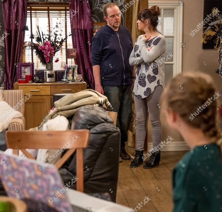 Ep 8165 Friday 1 June 2018 Kerry Wyatt, as played by Laura Norton, and Dan Spencer, as played by Liam Fox, are horrified when they walk in to see Lady Amelia Spencer, as played by Daisy Campbell, watching back the video of Dan admitting he isn't her real dad....