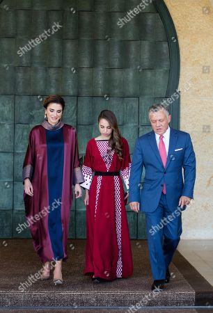 Stock Image of Their Majesties King Abdullah II and Queen Rania and HRH Princess Lalla Salma at this year's celebration of the 72nd Anniversary of Jordan's Independence Day, Al Husseiniya Palace, Amman