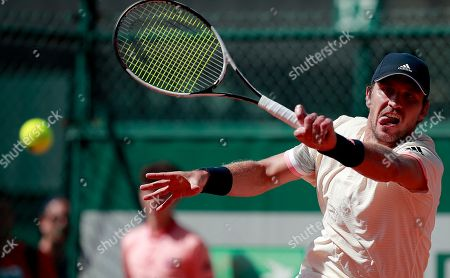 Mischa Zverev of Germany in action against Florian Mayer of Germany during their men?s first round match during the French Open tennis tournament at Roland Garros in Paris, France, 29 May 2018.