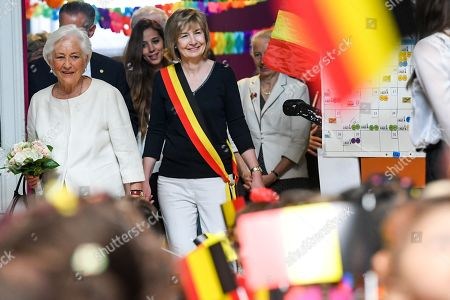 Editorial photo of Queen Paola visit to Arc-En-Ciel school, Brussels, Belgium - 29 May 2018