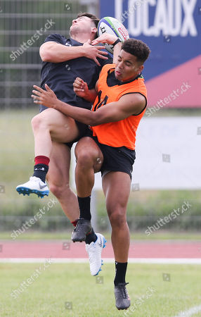 Ryan Conbeer and Ben Thomas during training runout ahead of the team's first match in the World Rugby U20 Championship against Australia