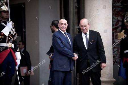 Jean-Yves Le Drian (Ministre Francais des Affaires andrangeres) and Aguila Saleh Issa (President de la Chambre des Representants de Tobrouk)