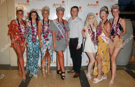 Jodie Duckworth Miss Nuneaton 2017, Niamh Conway Miss Birmingham 2017, Jennifer Atkin Miss Yorkshire 2017, Olivia Green Miss Genting Stoke and Miss Miss Premier Ceylon-England, Russell Cool (Area General Manager ) Samantha Bumford Miss Dorset 2017, Rachel Pitman Miss Hertfordshire 2017, Ellie Wilson Miss Liverpool 2017 at the Amari Galle Hotel