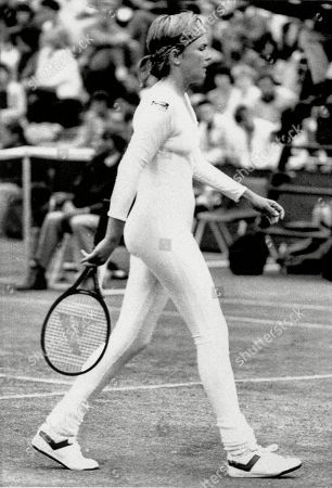 Tennis player Anne White of the U.S. is shown in a tight fitting body suit, which she has been banned from wearing in her resumed match tomorrow, against fellow American Pam Shriver.  of the U.S. played her first round French Open match against Krystina Pliskova of the Czech Republic in a all-black bodysuit