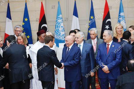 Khaled Mechri, Fayez al-Sarraj, Emmanuel Macron, Aguila Saleh, Marechal Khalifa Belqasim Haftar
