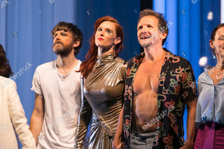 Paul Anderson (Tartuffe), Audrey Fleurot (Elmire) and Sebastian Roche (Orgon) during the curtain call