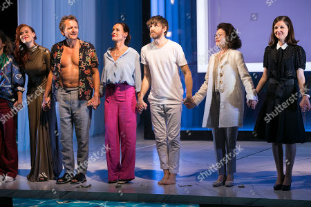 Audrey Fleurot (Elmire), Sebastian Roche (Orgon), Claude Perron (Dorine), Paul Anderson (Tartuffe), Annick Le Goff (Madame Pernelle) and Nadia Cavelle (Flipote) during the curtain call