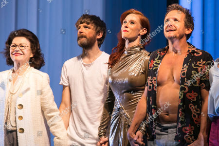 Annick Le Goff (Madame Pernelle), Paul Anderson (Tartuffe), Audrey Fleurot (Elmire) and Sebastian Roche (Orgon) during the curtain call
